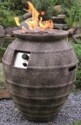 Elementi Gas Feuerstelle Katla in Keramik Antikoptik aus Faserbeton