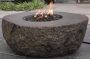Elementi Gas Feuerstelle Vesuv in Basaltoptik aus Faserbeton