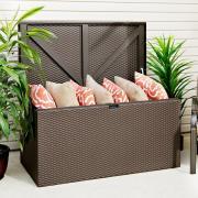 EPH Gerätebox Kissenbox Linz 132 x 69 x 67 cm mit Boden und Deckel Javabraun