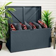 EPH Gerätebox Kissenbox Linz 132 x 69 x 67 cm mit Boden und Deckel Steingrau