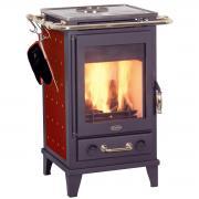 Fireplace Kaminofen Zeitbrandofen Florenz Keramik Bordeaux mit Kochplatte (7 kW)