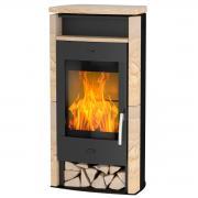 Fireplace Kaminofen Zeitbrandofen Santiago Sandstein schwarz (6 kW)