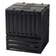 Garantia ECO-King Komposter 600 L schwarz mit zwei großen Einfüllklappen 80 x 80 x 95 cm