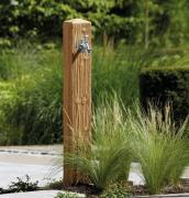 GARANTIA Granit Wasserzapfsäule lightwood inkl. Auslaufhahn 3/4