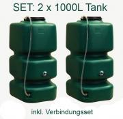 GARANTIA Regenwassertank Regenwasserspeicher Regentonne Garten-Tank 2000 L Set mit Füllstandanzeige