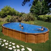 Gre Amazonia Pool-Set Aufstellbecken Oval Holzoptik inkl. Sandfilterung + Zubehör (HxBxT) 132 x 375 x 730 cm