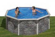 Gre Cerdana Pool-Set Rundbecken Steinoptik inkl. Sandfilterung + Zubehör (HxD) 120 x Ø 240 cm