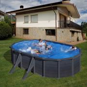 Gre Graphite Pool-Set Aufstellbecken oval mit Außenstreben inkl. Sandfilterung + Zubehör (HxBxT) 132 x 375 x 610 cm
