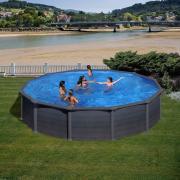 Gre Graphite Pool-Set Aufstellbecken rund inkl. Sandfilterung + Zubehör (HxD) 132 x Ø 550 cm