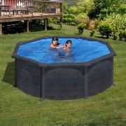 Gre Graphite Pool-Set Aufstellbecken rund inkl. Sandfilterung + Zubehör (HxD) 132 x Ø 350 cm