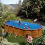 Gre Mauritius Pool-Set Aufstellbecken oval Holzoptik mit Außenstreben inkl. Sandfilterung + Zubehör (HxBxT) 132 x 375 x 730 cm