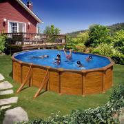 Gre Mauritius Pool-Set Aufstellbecken oval Holzoptik mit Außenstreben inkl. Sandfilterung + Zubehör (HxBxT) 132 x 375 x 610 cm