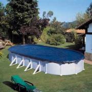 Gre Winterplane für Ovalbecken blau 680 x 460 cm Polyethylen 100 g/m² Poolabdeckung inkl. Spannvorrichtung