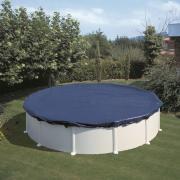 Gre Winterplane für Rundbecken blau Ø 480 cm Polyethylen 100 g/m² Poolabdeckung inkl. Spannvorrichtung