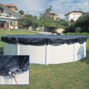 Gre Winterplane für Rundbecken blau Ø 440 cm Polyethylen 100 g/m² Poolabdeckung inkl. Spannvorrichtung