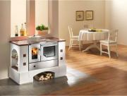 HAAS+SOHN Küchenherd Kaminofen mit Bausatz Edelstahl mit Sichtfenster, Stahlkochplatte, Anschlüsse rechts, cotto 8 kW