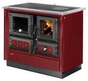 Justus Festbrennstoffherd Rustico-90 2.0 Bordeauxrot Backfach links 7kW
