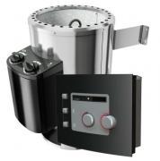 Karibu 230 V Plug & Play - Bio-Kombiofen 3,6 Kw mit externer Multifunktionssteuerung Modern und 18 Kg Steinen Silber