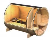 Karibu Fasssauna im Schraub-Stecksystem 42 mm Massivholz Fasssauna 2 205*273*216 cm