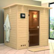 Karibu Plug and Play Sauna 38 mm Massivholz Ronja (Fronteinstieg) ohne Dachkranz 196*144*198 cm
