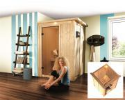 Karibu Plug and Play Sauna 68 mm Massivholz Lenja( Fronteinstieg) mit Dachkranz 149*149*202 cm