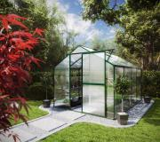 KGT Gewächshaus Flora IV moosgrün 2,27 x 3,01 m (6,83 m²) 6mm Polycarbonat UV-geschützt