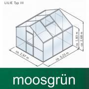 KGT Gewächshaus Lilie III moosgrün 2,97 x 3,23 m (9,6 m²) 10mm Polycarbonat UV-geschützt
