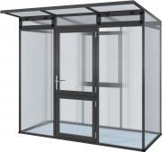 KGT Gewächshaus Linea l anthrazit 2,33 x 1,10m (2,56 m²) 10mm Polycarbonat UV-geschützt
