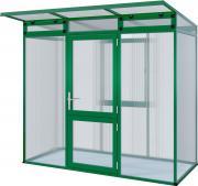 KGT Gewächshaus Linea l moosgrün 2,33 x 1,10m (2,56 m²) 10mm Polycarbonat UV-geschützt