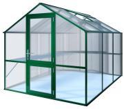 KGT Gewächshaus Rose lll moosgrün, 2,33 x 3,23 m (7,53 m²) 10mm Polycarbonat UV-geschützt