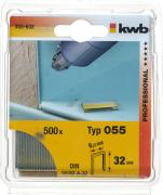 KWB Heftklammern 6,1 x 32 mm Typ 055 mit Schmalrücken und C-Spitze Stahl (600 Stück)