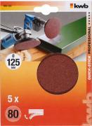 KWB Quick-Stick Schleifscheiben Holz & Metall Edelkorund Ø 125 mm K 80 (5 Stück)