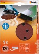 KWB Quick-Stick Schleifscheiben Holz & Metall Edelkorund Ø 115 mm gelocht K 120 (5 Stück)