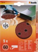 KWB Quick-Stick Schleifscheiben Holz & Metall Edelkorund Ø 125 mm gelocht K 60 (5 Stück)