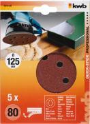 KWB Quick-Stick Schleifscheiben Holz & Metall Edelkorund Ø 125 mm gelocht K 80 (5 Stück)