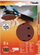 KWB Quick-Stick Schleifscheiben Holz & Metall Edelkorund Ø 125 mm gelocht K 180 (5 Stück)