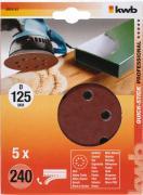 KWB Quick-Stick Schleifscheiben Holz & Metall Edelkorund Ø 125 mm gelocht K 240 (5 Stück)