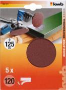 KWB Quick-Stick Schleifscheiben Holz & Metall Edelkorund Ø 125 mm K 120 (5 Stück)