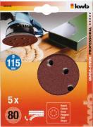 KWB Quick-Stick Schleifscheiben Holz & Metall Edelkorund Ø 115 mm gelocht K 80 (5 Stück)