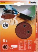 KWB Quick-Stick Schleifscheiben Holz & Metall Edelkorund Ø 125 mm gelocht K 40 (5 Stück)