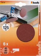 KWB Quick-Stick Schleifscheiben Holz & Metall Edelkorund Ø 125 mm K 40/80/120 (6 Stück)