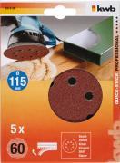 KWB Quick-Stick Schleifscheiben Holz & Metall Edelkorund Ø 115 mm gelocht K 60 (5 Stück)