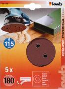 KWB Quick-Stick Schleifscheiben Holz & Metall Edelkorund Ø 115 mm gelocht K 180 (5 Stück)