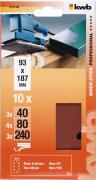 KWB Quick-Stick Schleifstreifen Holz & Metall Edelkorund gelocht 93 x 186 mm K 40, 80, 240 (10 Stück)