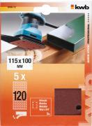 KWB Quick-Stick Schleifstreifen Holz & Metall Edelkorund gelocht 115 x 100 mm K 120 (5 Stück)