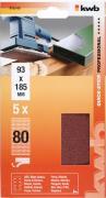 KWB Quick-Stick Schleifstreifen Holz & Metall Edelkorund gelocht 93 x 185 mm K 80 (5 Stück)