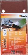 KWB Quick-Stick Schleifstreifen Holz & Metall Edelkorund gelocht geschrumpft Sparpack 93 x 185 mm K 40, 60, 80, 120 (15 Stück)