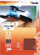 KWB Quick-Stick Schleifstreifen Holz & Metall Edelkorund gelocht 115 x 100 mm K 80 (5 Stück)