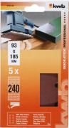 KWB Quick-Stick Schleifstreifen Holz & Metall Edelkorund gelocht 93 x 185 mm K 240 (5 Stück)