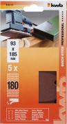 KWB Quick-Stick Schleifstreifen Holz & Metall Edelkorund gelocht 93 x 185 mm K 180 (5 Stück)